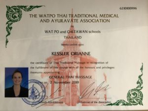 Certificat massage thaï WAT PO School